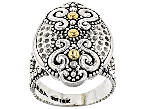 Pre-Owned Sterling Silver And 18k Gold Accent Ring