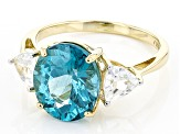 Pre-Owned Blue Paraiba Color Apatite 14k Yellow Gold Ring 4.45ctw