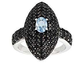 Pre-Owned Blue Aquamarine Sterling Silver Ring 3.00ctw