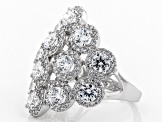 Pre-Owned White Cubic Zirconia Rhodium Over Sterling Silver Cluster Ring 6.86ctw
