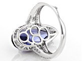 Pre-Owned Blue and White Cubic Zirconia Rhodium Over Sterling Silver Ring 8.64ctw