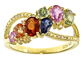 Pre-Owned Multi-color sapphire 18k gold over silver ring 2.20ctw