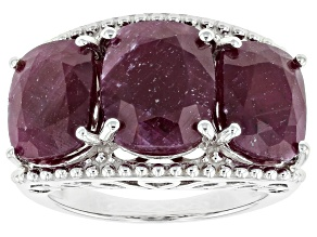 Pre-Owned Red ruby rhodium over sterling silver 3-stone ring 12.75ctw