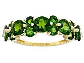 Pre-Owned Green Russian chrome diopside 10K yellow gold band ring