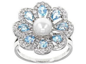 Pre-Owned 6mm White Cultured Freshwater Pearl, Swiss Blue Topaz & White Zircon Rhodium Over Silver R