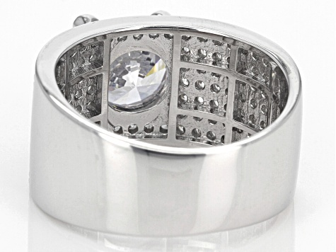 Pre-Owned White Cubic Zirconia Rhodium Over Sterling Silver Ring 5.70ctw