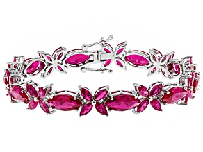 Pre-Owned Red ruby rhodium over sterling silver bracelet 24.76ctw