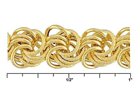 Pre-Owned 14k Yellow Gold Hollow Rosetta Link Bracelet 7.5 inch 8.5mm