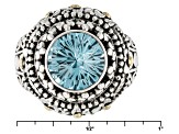 Pre-Owned Blue Topaz Silver With 18kt Yellow Gold Accent Ring 4.36ct