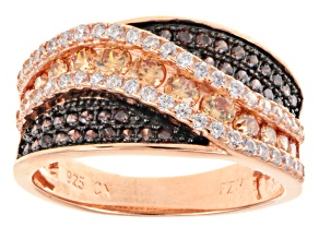 Pre-Owned Brown, Mocha, And White Diamond Simulant 18k Rose Gold Over Sterling Silver Ring 1.61ctw