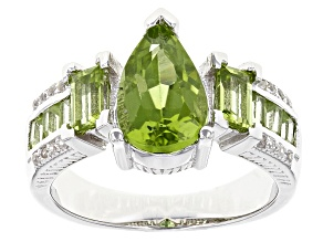 Pre-Owned Green Peridot Sterling Silver Ring 2.18ctw