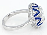 Pre-Owned Blue And White Cubic Zirconia Rhodium Over Sterling Silver Ring 2.08ctw