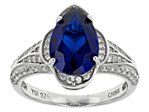 Pre-Owned Blue Lab Created Spinel And White Cubic Zirconia Rhodium Over Sterling Silver Ring 5.97ctw