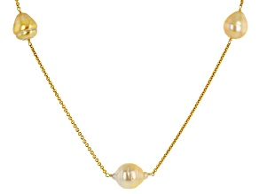 Pre-Owned Golden Cultured South Sea Pearl 14k Yellow Gold Necklace 11-13mm