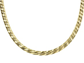 Pre-Owned 18k Yellow Gold over Bronze Diamond Cut Reversible Omega 18 Inch Necklace