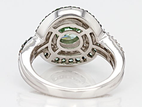 Pre-Owned Green & White Zirconia From Swarovski (R) Rhodium Over Silver Ring 4.42ctw