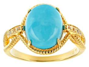 Pre-Owned Turquoise Sleeping Beauty 18k Gold Over Silver Ring .11ctw