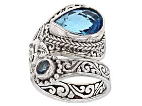 Pre-Owned Swiss Blue Quartz Triplet Silver Ring .25ctw