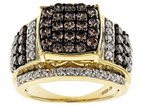 Pre-Owned Brown And White Cubic Zirconia 18k Yellow Gold Over Silver Ring 3.69ctw (1.83ctw DEW)