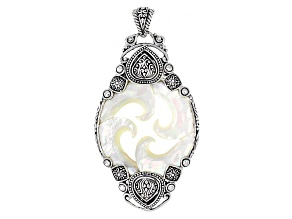 Pre-Owned White Mother Of Pearl Wave Silver Pendant