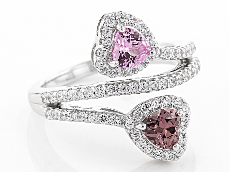 Pre-Owned Synthetic Pink Sapphire And Pink/White Cubic Zirconia Platineve Ring 2.35ctw