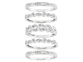 Pre-Owned Diamond Sterling Silver Bands Set Of 5 .45ctw