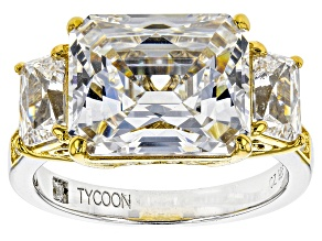 Pre-Owned Cubic Zirconia Platineve And 18k Yellow Gold Over Silver Ring 13.11ctw (7.44ctw DEW)