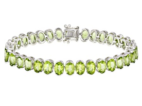 Pre-Owned Green Peridot Rhodium Over Sterling Silver Bracelet 26.78ctw