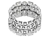 Pre-Owned White Cubic Zirconia Rhodium Over Sterling Silver Rings 16.87ctw