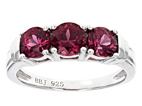 Pre-Owned Purple Rhodolite Sterling Silver 3-Stone Ring 1.50ctw