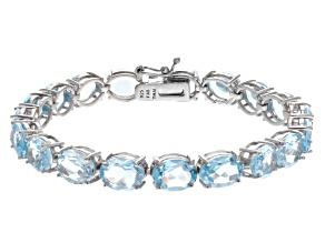 Pre-Owned Blue Topaz 44.00ctw Sterling Silver Line Bracelet