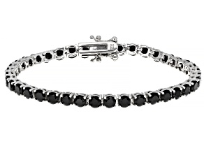 Pre-Owned Natural 12ctw Round Black Spinel .925 Sterling Silver Tennis Bracelet