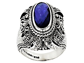 Pre-Owned Blue Tanzanite Color Rainbow Quartz Triplet Silver Ring