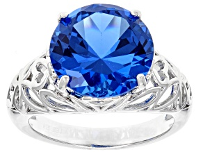Pre-Owned Blue lab spinel rhodium over sterling silver solitaire ring 6.50ct