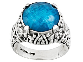 Pre-Owned Neon Blue Apatite Triplet Silver Ring