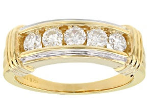 Pre-Owned Moissanite 14k Yellow Gold Over Silver Ring .65ctw DEW