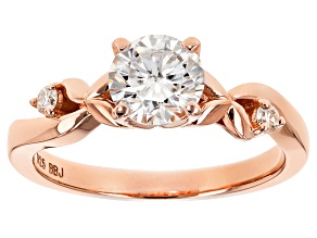 Pre-Owned Moissanite Fire® 1.06ctw DEW Round 14k Rose Gold Over Sterling Silver Ring