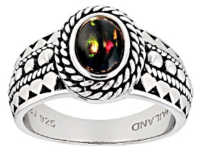 Pre-Owned Black Ethiopian Opal Sterling Silver Ring .45ct