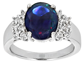 Pre-Owned Black Ethiopian Opal Sterling Silver Ring 2.37ctw