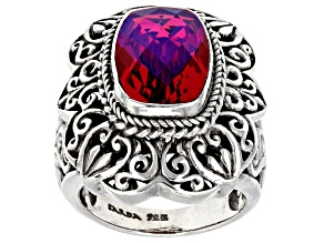 Pre-Owned Rainbow Red Volcanic Quartz Triplet Silver Ring