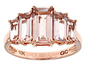 Pre-Owned Pink Morganite 10k Rose Gold 5-Stone Ring 3.50ctw