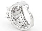 Pre-Owned White Cubic Zirconia Rhodium Over Sterling Silver Ring 4.69ctw