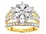Pre-Owned White Cubic Zirconia 18k Yellow Gold Over Sterling Silver Ring 4.69ctw