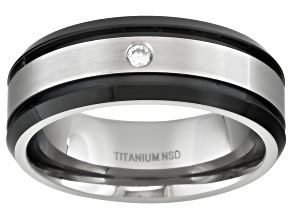 Pre-Owned 8mm Men's Black Ion Plated Titanium With 0.05ctw Diamond Accent Band