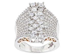 Pre-Owned White Cubic Zirconia Rhodium & 18k Rose Gold Over Sterling Silver Ring 4.47ctw