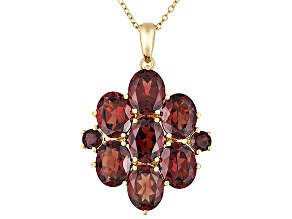 Pre-Owned Red Garnet 18k Gold Over Silver Pendant With Chain 13.06ctw