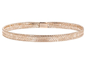 Pre-Owned 10k Rose Gold Mesh Link Bangle Bracelet 7 inch
