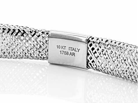 Pre-Owned 10k White Gold Mesh Link Bangle Bracelet 7 inch