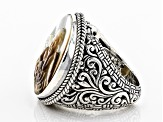 Pre-Owned Multicolor Mother Of Pearl Silver Ring