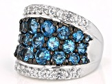 Pre-Owned Womens Dome Band Ring London Blue Topaz White Topaz 5ctw Silver